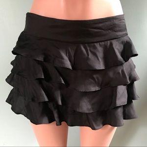 Topshop Black Poly Ruffle Mini Skirt SZ 10